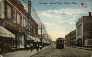 Chelsea MA Broadway Trolley FW Woolworth Store c1910 Postcard