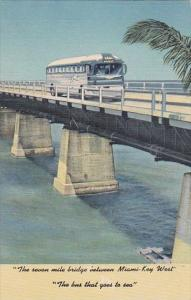 Greyhound Bus On The Seven Mile Bridge Between Miami and Key West Florida 195...