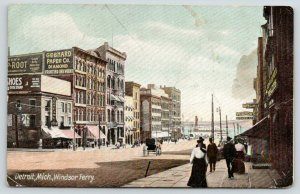 Detroit Michigan~Windsor Ferry @ End of Main Street~Bowling~Gebhard Paper~c1905