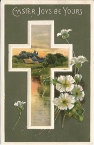 Dark Green Background with White Christian Cross with Sunset Lake Scene Postcard