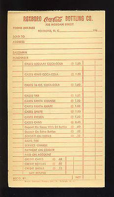 1960's Coca-Cola Bottling Co. Order Slip/Invoice, Roxboro...