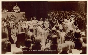 Crowning Ceremony in Westminster Abbey Real Photo Postcard