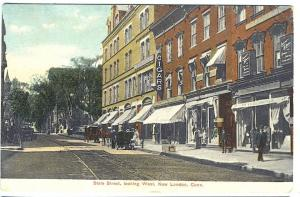New London CT State Street Looking West Cigars Postcard