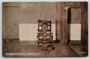 Auburn New York~State Prison Execution Chamber~Electric Chair Plugged In~c1910