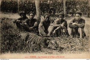 CPA INDOCHINA Tonkin Les Chasseurs et le Tigre VIETNAM (959257)