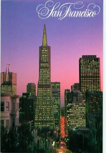 San Francisco CA Night Scene Financial District Ken Glasser   Postcard  # 7534