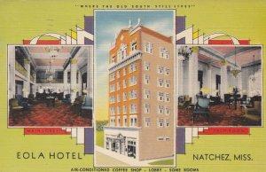 NATCHEZ , Mississippi, 1952 ; Eola Hotel, Main Lobby & Palm Room