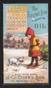 VICTORIAN TRADE CARD Electric Light Oil Girl & Bunny in Snow