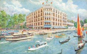 Vintage Art Postcard Le Grand Hotel Lido Venezia Vencie Italy AY5