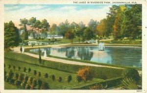 Riverside Park Lakes, Jacksonville Florida White Border Postcard