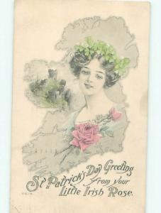 Pre-Linen St. Patrick's PRETTY IRISH GIRL & MAP OF IRELAND AB3265
