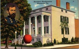 Sheridans Headquarters WInchester Va - POSTCARD - VINTAGE 1936 LINEN