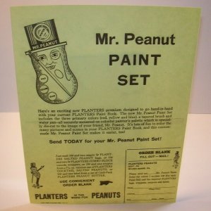 Mr Peanut Vintage Paint Set Planters Paper Sales Flyer 1955 Original Advertising