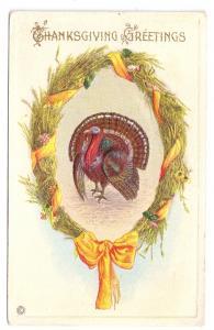 Thanksgiving Turkey Wheat Wreath Stecher Postard Inverted 1920 Date Slug