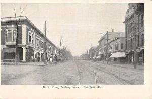 Wakefield Massachusetts Main Street Scene Store Fronts Antique Postcard K16171