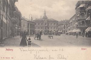 Mother & Child at Aalborg Nytorv Denmark Square Old Postcard