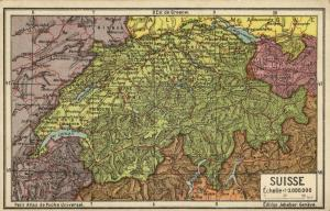 Switzerland Suisse, Jeheber Map with Country Info (1910s)