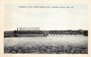 Chippewa Falls Wisconsin~Chippewa Falls Hydro Power Plant~1940s Linen Blue Sky