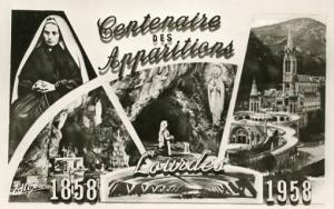 France - Lourdes, Centennial of St. Bernardette  RPPC