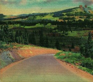Highway over Rabbit Ear Pass on Victory highway Colorado UNP Vtg Linen Postcard