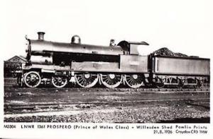 Willesden Shed Prospero Prince Of Wales Class Train Railway Photo Postcard