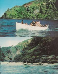 Pitcairn Island Whale & Fruit Boats Leaving Bounty Bay 1970s Postcard