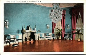 Vtg 1920s Blue Room White House Washington DC Postcard