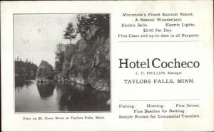 Taylors Falls MN Hotel Cocheco Adv Promo 1908 Used Postcard