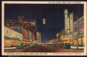 Texas AMARILLO looking North from Ninth Store Fronts Older Cars - pm1951 - L