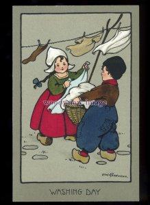 ch0442 - Children - Washing Day Dutch Children, by Ethel Parkinson -  postcard