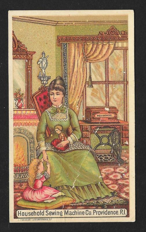 VICTORIAN TRADE CARD Household Sewing Machine Child w/Doll