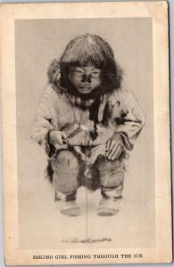 Eskimo Girl Fishing Through the Ice Field Museum Chicago IL Vintage Postcard I15
