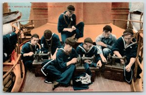 US Navy Battleship~Sailors Sew On Board Warship~Portable Sewing Machines~c1909