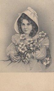 Portrait of Girl holding flowers wearing bonnet, 1900-10s; TUCK 1623