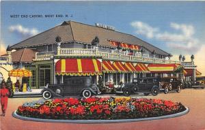 E9/ West End New Jersey NJ Postcard 1942 Linen West End Casino Autos
