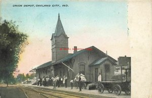 IN, Oakland City, Indiana, Union Railroad Train Station Depot, 1909 PM