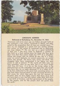Lincoln Speech Memorial, Gettysburg, PA, unused Postcard
