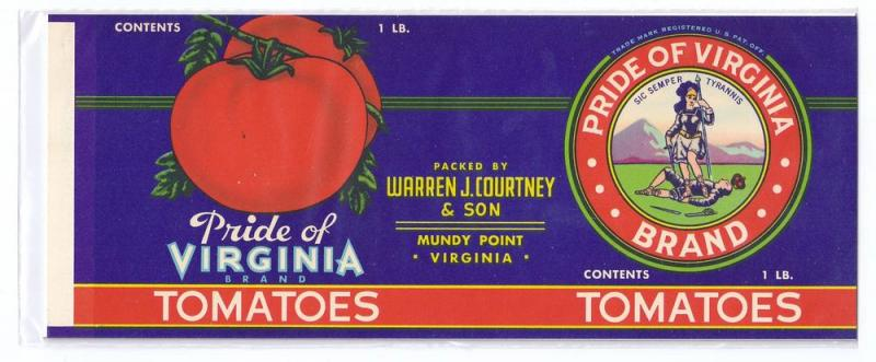Pride of Virginia Tomatoes Mundy Point VA Vintage Can Label