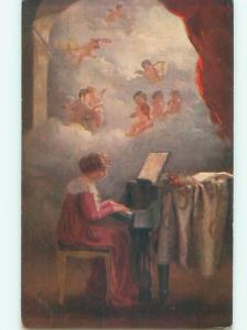 foreign Old Postcard ANGELS ABOVE WOMAN PLAYING GRAND PIANO MUSIC AC3288