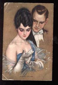 025875 Sparring for Time Lovers By Harrison FISHER old #845 PC
