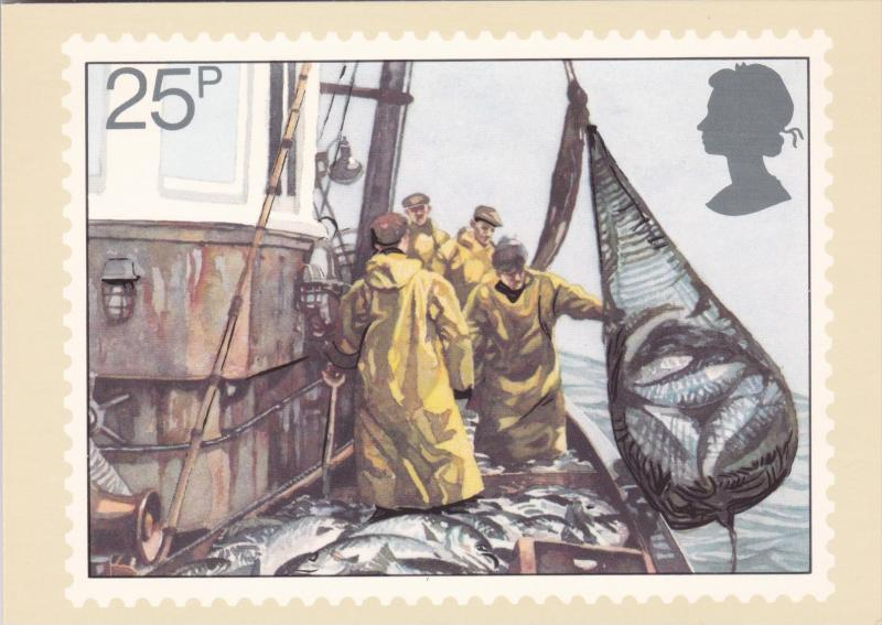 Stamps Of Great Britain Fishing Hauling Seine Net Issued 23 September 1981
