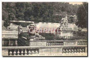 Postcard Old Nimes Fountain Garden Statue of Source
