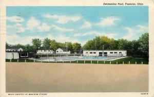 Fostoria Ohio~Swimming Pool~Concession Building~Bath House~1951 Postcard