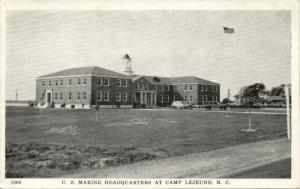 Camp Lejeune, N.C., U.S. Marine Headquarters (1940s) WWII Postcard No. 1906