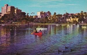 California Los Angeles Large Lake Fronting Wilshire Boulevard