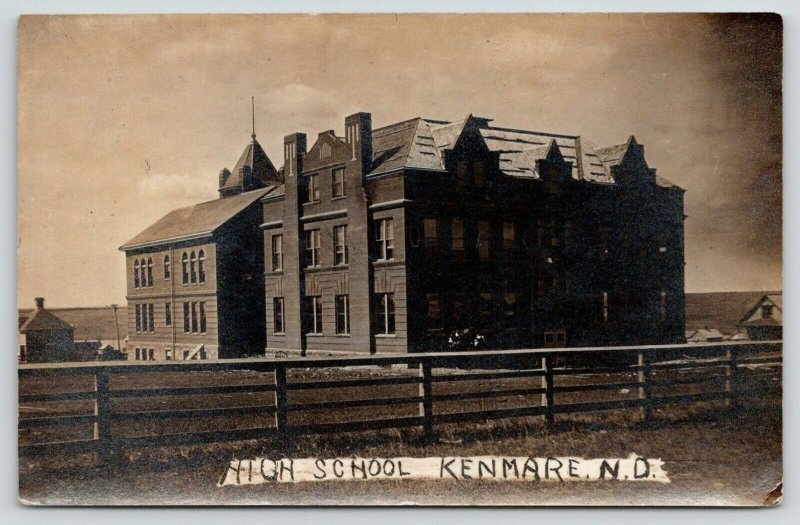 Kenmare North Dakota~High School~Houses~Wooden Rail Fence~1908 RPPC