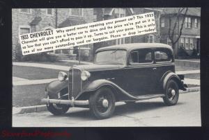 1933 CHEVROLET SUMNER IOWA PIPHO MOTOR CO. CAR DEALER ADVERTISING POSTCARD
