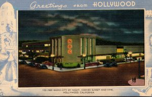 California Hollywood Greetings Showing NBC Radio City By Night Corner Sunset ...