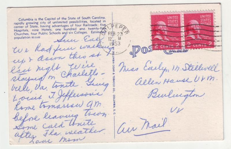 P1139 1953 linen postcard busy main street state capitol columbia south carolina