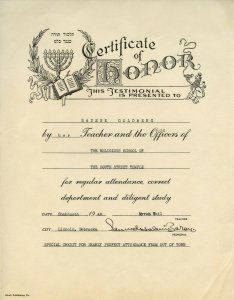 Certificate of Honor Religious School South Street Temple Lincoln NE 1948 Radene